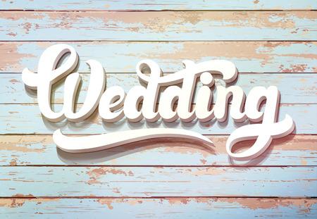 La palabra de la boda en un fondo de madera. Tarjeta de invitación de la boda de la vendimia