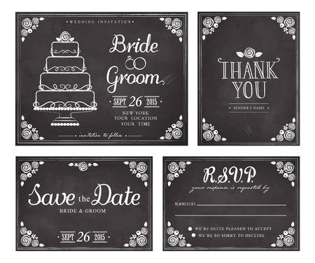 casamento: Jogo de cartões de convite de casamento do vintage. Salvar a data. Obrigado. Cartão da resposta do vetor. Freehand desenho no quadro-negro