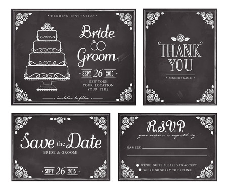 Set of wedding invitation vintage cards. Save the date. Thank you. Vector response card. Freehand drawing on the chalkboard Ilustracja