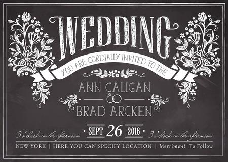wedding: çiçek arka plan ile düğün davetiye