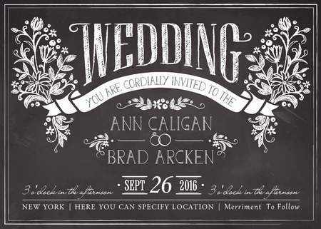 postcard vintage: Wedding invitation card with floral background Illustration