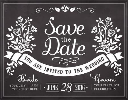 date: Merke dir das Datum. Hochzeits-Einladung Vintage-Karte. Freihandzeichnen an die Tafel Illustration