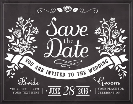 Save the date. Wedding invitation vintage card. Freehand drawing on the chalkboard
