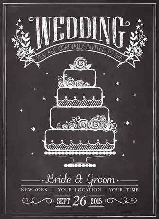 wedding cake: Wedding invitation vintage card. Wedding cake. Freehand drawing on the chalkboard