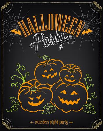Vintage poster Happy Halloween. Invitation to party Illustration