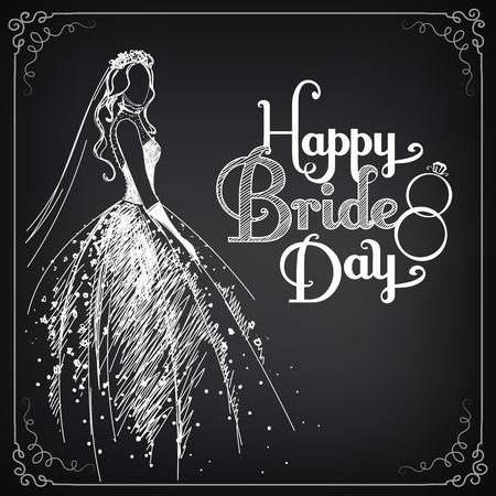美しいウェディング ドレスと花嫁の招待状テンプレートです。ビンテージ スタイル  イラスト・ベクター素材