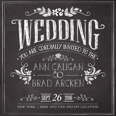 婚禮: 婚禮邀請卡。徒手在黑板上畫圖