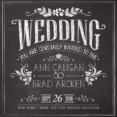 chalkboard drawings: Wedding invitation card. Freehand drawing on the chalkboard