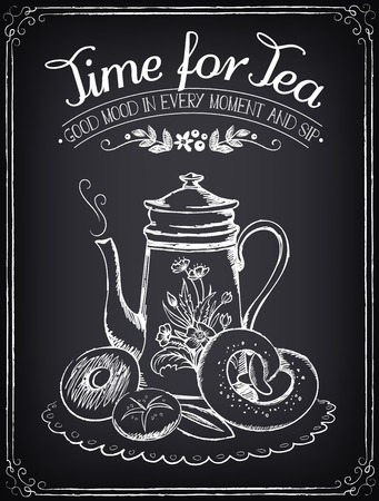 Illustration with the words Time for tea and teapot, bakery. Freehand drawing with imitation of chalk sketch