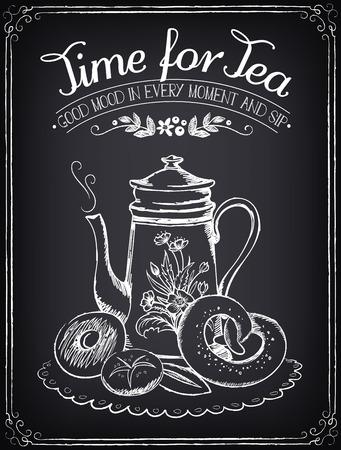 Illustrazione con le parole ora per il tè e teiera, prodotti da forno. Disegno a mano libera con l'imitazione di disegno gesso