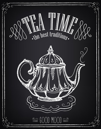 Illustration with the words Tea time and teapot. Freehand drawing with imitation of chalk sketch Çizim