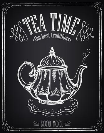 alto: Ilustración con el tiempo palabras de té y tetera. Dibujo a mano alzada con la imitación de dibujo de tiza