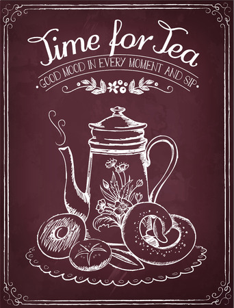 freehand tradition: Illustration with the words Time for tea and teapot, bakery. Freehand drawing with imitation of chalk sketch
