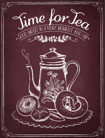 letreros: Ilustración con las palabras de tiempo para el té y la tetera, panadería. Dibujo a mano alzada con la imitación de dibujo de tiza Vectores