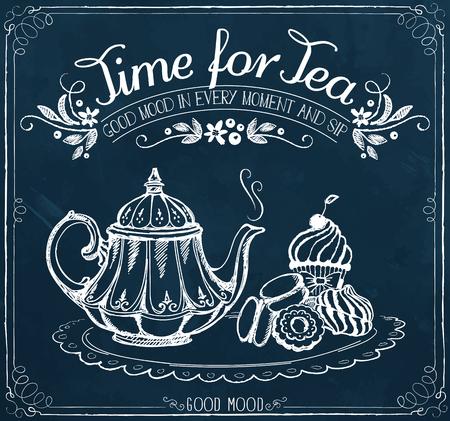 letreros: Ilustración con las palabras de tiempo para el té y la tetera, pasteles dulces. Dibujo a mano alzada con la imitación de dibujo de tiza