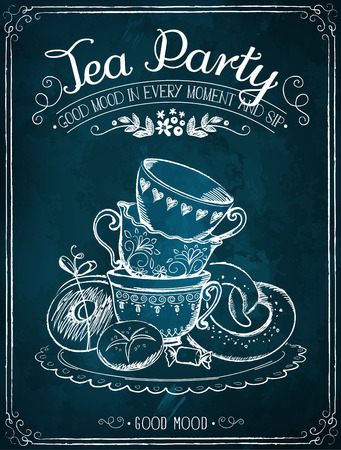 english breakfast tea: Illustration with the words Time Party, cups and bakery. Freehand drawing with imitation of chalk sketch Illustration