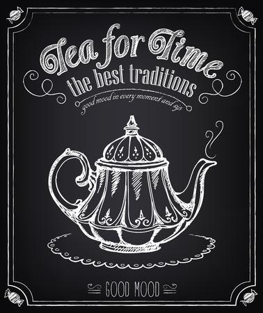 Illustratie met de woorden: tijd voor thee en theepot. Uit de vrije hand tekenen met imitatie van krijt schets