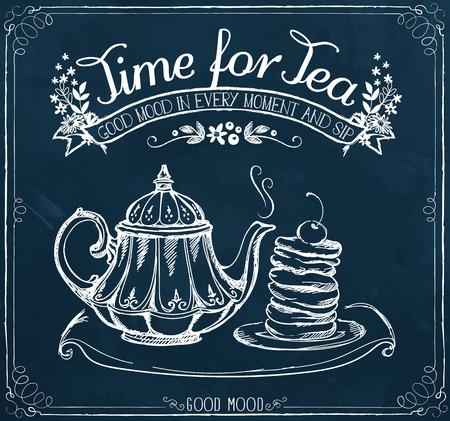 紅茶とティーポット、パンケーキのための時間の言葉とイラスト。チョーク スケッチの模倣でフリーハンド描画