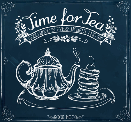 Illustration with the words Time for tea and teapot, pancakes. Freehand drawing with imitation of chalk sketch
