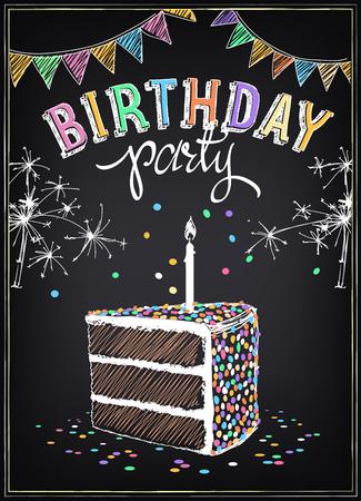 Invitación a la fiesta de cumpleaños con una rebanada de la torta, bengalas y confeti. Dibujo a mano alzada con la imitación de dibujo de tiza