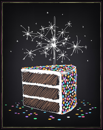 Slice of cake with with sprinkles. Sparklers and confetti