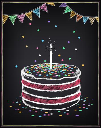 Torta de cumpleaños con la vela. decoraciones festivas y confeti. Dibujo a mano alzada con la imitación de dibujo de tiza
