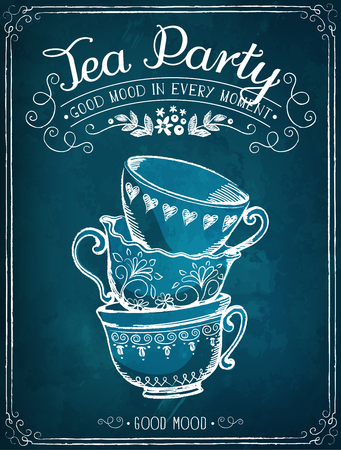 in english: Illustration with the words Tea Party with cups. Freehand drawing with imitation of chalk sketch Illustration