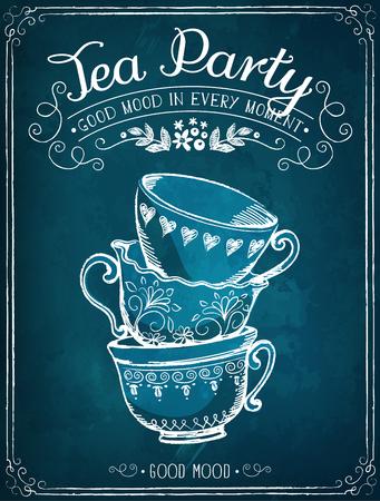 Ilustración con las palabras de la fiesta del té con las tazas. Dibujo a mano alzada con la imitación de dibujo de tiza Vectores