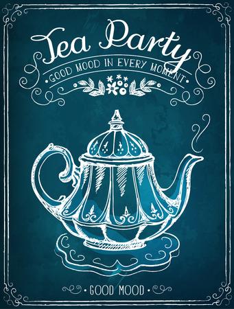 Illustrazione con le parole ora per il tè e teiere. Disegno a mano libera con l'imitazione di disegno gesso