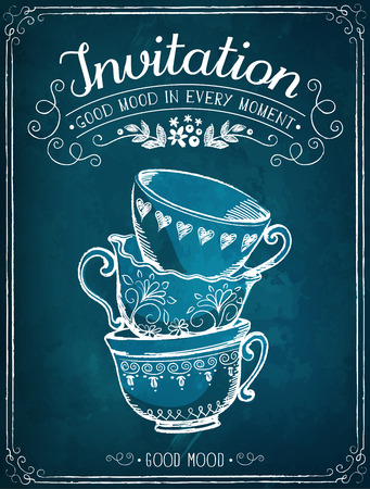 english breakfast tea: Illustration with the words Invitation and cups. Freehand drawing with imitation of chalk sketch
