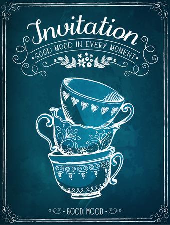 alto: Ilustración con la invitación y tazas palabras. Dibujo a mano alzada con la imitación de dibujo de tiza