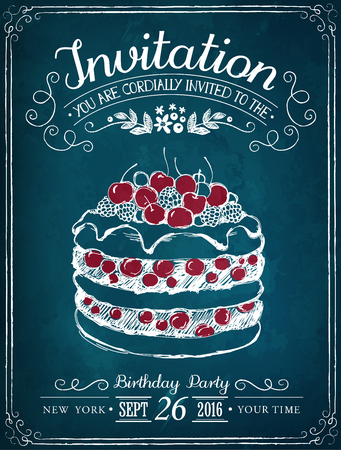Illustration with the words Invitation and cake. Freehand drawing with imitation of chalk sketch