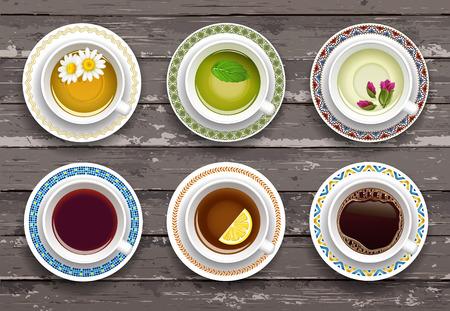 Set van kopjes koffie en thee op een tafel met vintage textuur. View from above Vector Illustratie