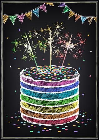Uitnodiging voor de verjaardag met een taart, sterretjes en confetti. Uit de vrije hand tekenen met imitatie van krijt schets
