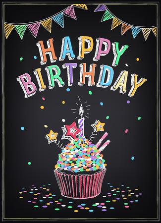 Invitación a la fiesta de cumpleaños con un pastel, bengalas y confeti. Dibujo a mano alzada con la imitación de dibujo de tiza