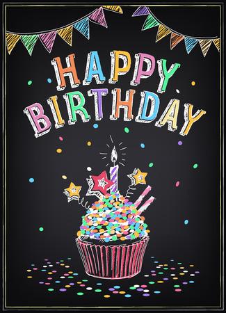 Invitation to the birthday party with a cake, sparklers and confetti. Freehand drawing with imitation of chalk sketch