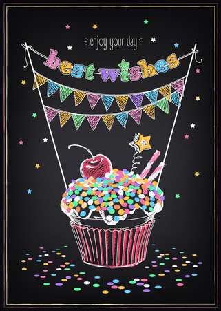 Invitation to the birthday party with a cupcake and confetti. Freehand drawing with imitation of chalk sketch