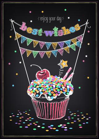 Uitnodiging voor de verjaardag met een cupcake en confetti. Uit de vrije hand tekenen met imitatie van krijt schets Stock Illustratie