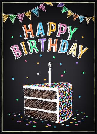 Einladung zur Geburtstagsparty mit einem Stück Kuchen, Wunderkerzen und Konfetti. Freihandzeichnen mit Nachahmung der Kreideskizze