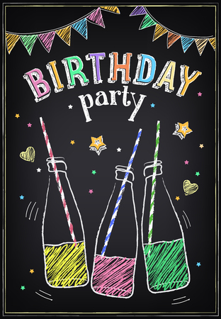 Invitation to the birthday party with bottles of soda and confetti. Freehand drawing with imitation of chalk sketch