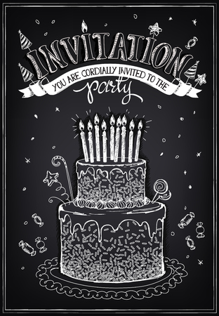 cartoon cake: Invitation to the birthday party with a cake, candies and confetti. Freehand drawing with imitation of chalk sketch