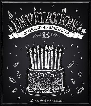 Invitación a la fiesta de cumpleaños con un pastel, caramelos y confeti. Dibujo a mano alzada con la imitación de dibujo de tiza