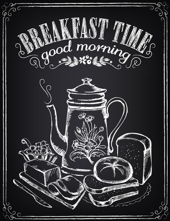 Illustration with the words Breakfast time, teapot, bread and butter. Freehand drawing with imitation of chalk sketch