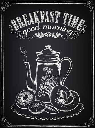 pone: Illustration with the words Breakfast time, teapot and bakery. Freehand drawing with imitation of chalk sketch Illustration