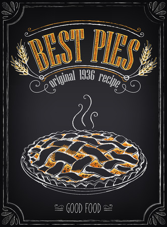 tart: Vintage Bakery Poster. Freehand drawing with imitation of chalk sketch. Hot pie Illustration