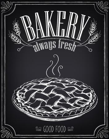 pie: Vintage Bakery Poster. Freehand drawing with imitation of chalk sketch. Hot pie Illustration