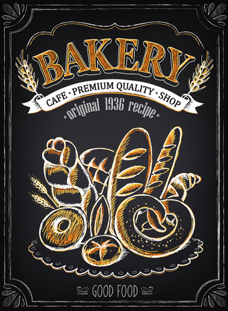 Vintage Bakery plakatu. Odręczny rysunek z imitacji kredy szkicu.