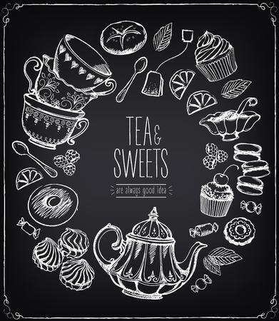 ceremonia del té llustration vector. La hora del té, hojas de té, la tetera, dulces, panadería, herramientas de té. La tradición de la hora del té. Té símbolos tiempo vector. Dibujo a mano alzada con la imitación de dibujo de tiza Ilustración de vector