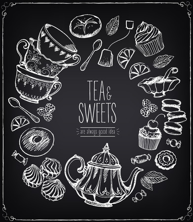 tea time: Tea ceremony vector llustration. Tea time, tea leaves, teapot, sweets, bakery, tea tools. Tradition of tea time. Tea time vector symbols. Freehand drawing with imitation of chalk sketch Illustration