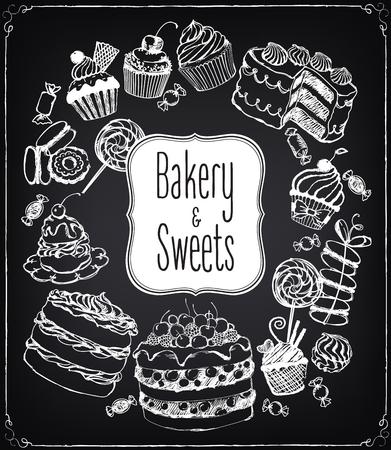 Set di pasticcini e dolci disegnati a mano. Pasticceria. Icone vettoriali di dolce da forno. Disegno a mano libera con l'imitazione di disegno gesso